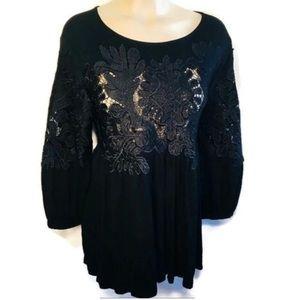 Anthropologie Deletta Black Sheer Lace Top L